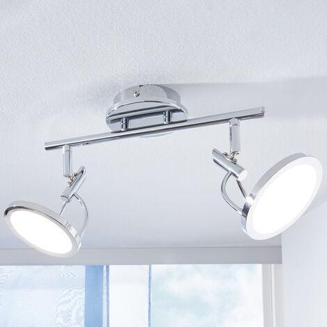 Foco de techo LED Jorne, cromo, 2 focos
