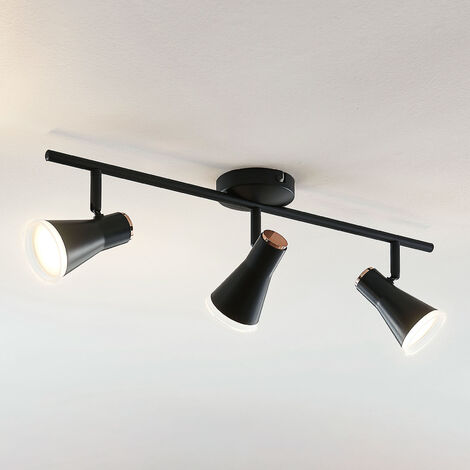 Foco de techo LED Michiko, negro, 3 luces