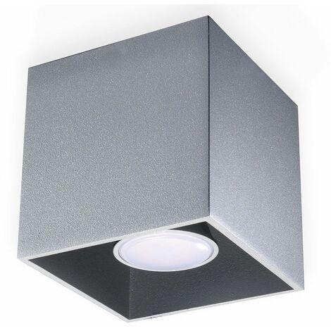 Foco de techo, plafón cuadrado, foco GU10 de superficie, aluminio, gris, 1x GU10, L x H 10x10 cm, salón