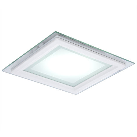 Foco Downlight LED Cuadrado con Cristal 200X200Mm 15W 1150Lm 30.000H