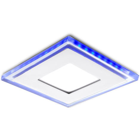 Foco Downlight LED Cuadrado con Cristal Duo (Blanco/Azul) 130X130Mm 10W 800Lm 30.000H