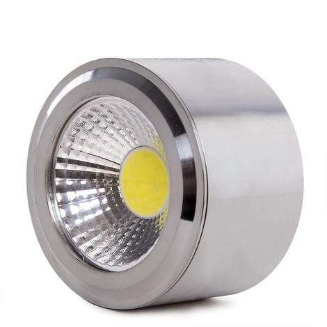 Foco Downlight LED de Superficie COB Circular Niquel Satinado Ø68Mm 5W 450Lm 30.000H