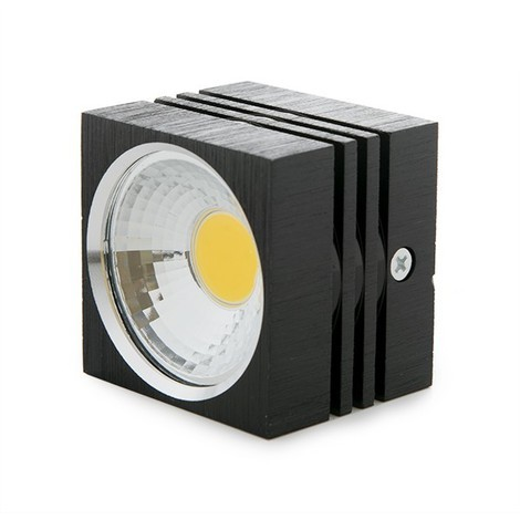 Foco Downlight LED de Superficie COB Cuadrado Negro 57X57Mm 3W 270Lm 30.000H BF-MZ3002-3W-B-R-WW