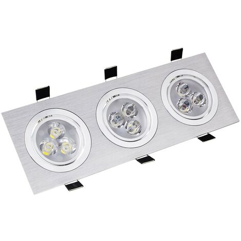 Foco Downlight LED Direccionable Rectangular 3x3x1W Corte 240x75 mm