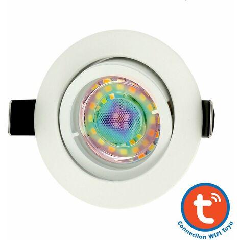 Foco empotrable blanco con GU10 5W RGB Connected Tuya