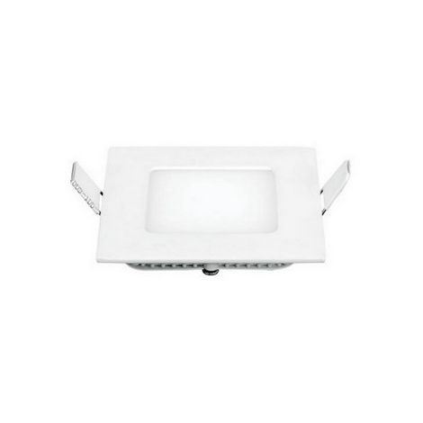 Foco Empotrado LED Cuadrado - de Techo, Pared - Blanco en Metal, 8,5 x 8,5 x 2,2 cm, 1 x LED, 3W, 300LM, 3000K Luz Blanca Natural