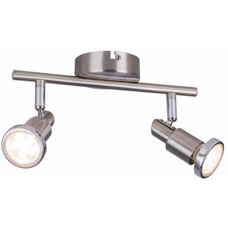 Foco LED 2x GU10 LED á 3W incl. Incl. 10706 carril anular cromado recto 6 vatios