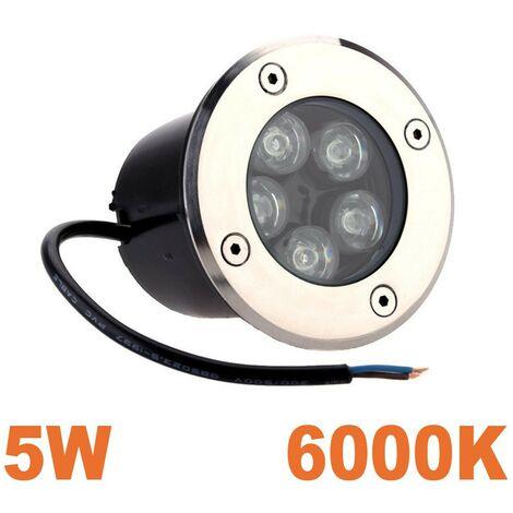 Foco led 5 W empotrable suelo exteriores IP65 Blanco frío 6000 K