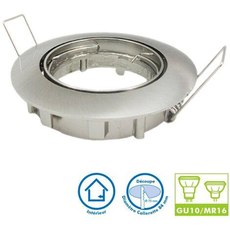 Foco LED ajustable en acero cepillado D82