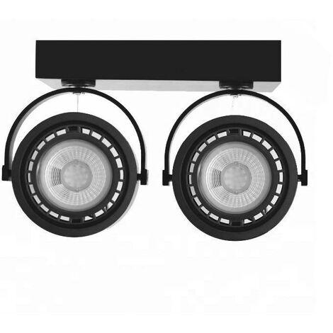 "Foco LED doble de superficie ""IRIS"" para bombilla AR111 GU10   Negro"