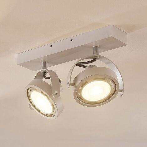 Foco LED Munin, atenuable, blanco, 2 luces