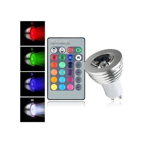 Foco led rgb con control remoto marcador 3w multicolor