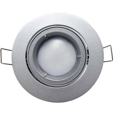 Foco orientable redondo, casquillo GU10, 7W equivalente a 50W, 120º, 525 lúmenes, 4000K, blanco neutro, IP20. No regulable.