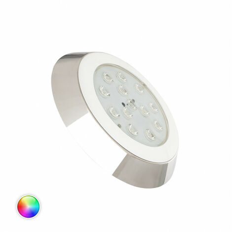 Foco Piscina LED RGBW Superficie 12V DC Acero Inoxidable 12W