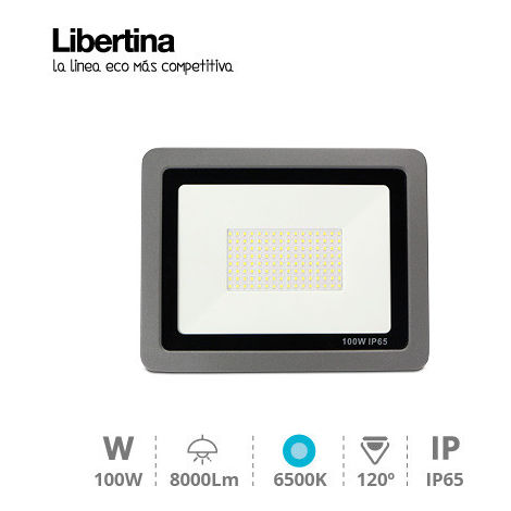 Foco Proyector LED 100W 6500K 8000lm IP65 Gris