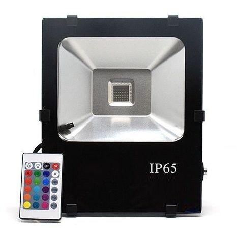 Foco Proyector led con mando RGB Negro 30W