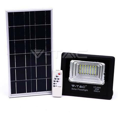 Foco proyector LED con panel solar 6000K 12W Negro
