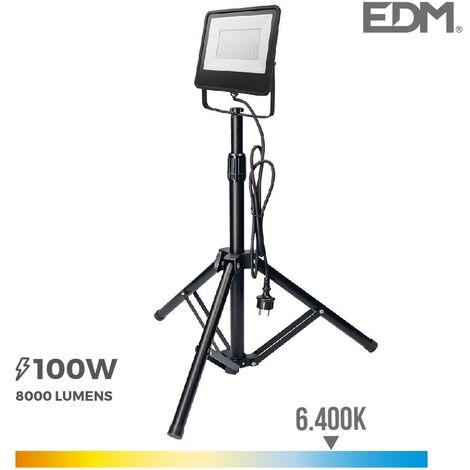 "Foco proyector led con tripode 100w 6400k ""black edition"" edm"