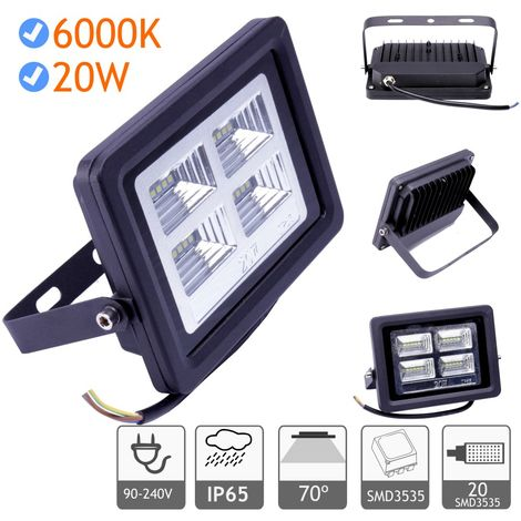 Foco proyector led exterior 20W 6000K negro 220V