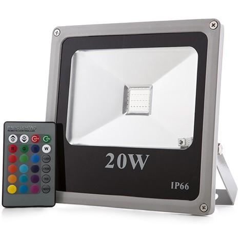 Foco Proyector LED IP65 20W RGB Mando a Distancia | RGB (HX-FL20-RGB)