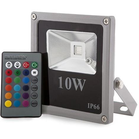 Foco Proyector LED IP65 Ecoline 10W RGB Mando a Distancia | RGB (HX-FL10-RGB)
