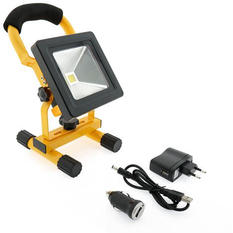 Foco proyector LED portátil con batería 10W Blanco Frío 6000K | IluminaShop