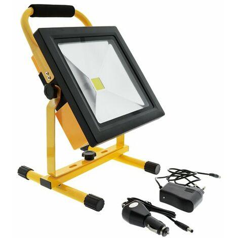 Foco proyector LED portátil con batería 50W Blanco Frío 6000K | IluminaShop