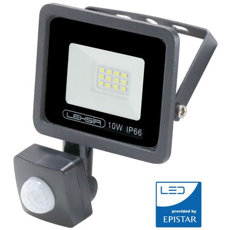 Foco Proyector LED SMD Lexsir 10W Regulable con Detector de Movimiento PIR IP66 Blanco Frío 6000K | IluminaShop