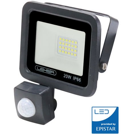 Foco Proyector LED SMD Lexsir 20W Regulable con Detector de Movimiento PIR IP66 Blanco Frío 6000K | IluminaShop