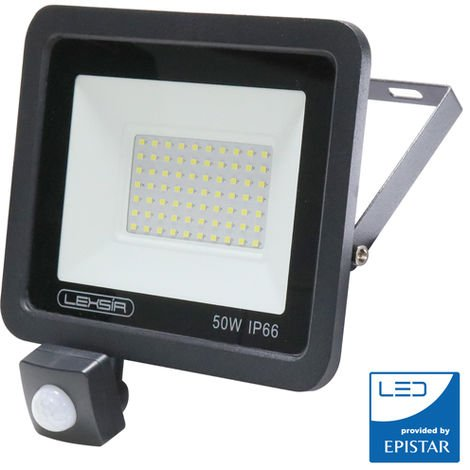 Foco Proyector LED SMD Lexsir 50W Regulable con Detector de Movimiento PIR IP66 Blanco Frío 6000K | IluminaShop