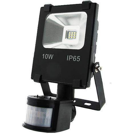 Foco proyector LED SMD Pro 10W con Detector de Movimiento PIR Blanco Frío 6000K | IluminaShop