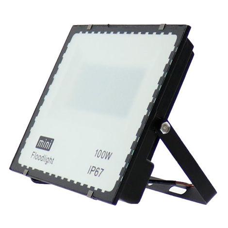 Foco proyector LED SMD WhiteBlack 100W Blanco Frío 6000K | IluminaShop