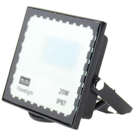 Foco proyector LED SMD WhiteBlack 20W Blanco Frío 6000K | IluminaShop