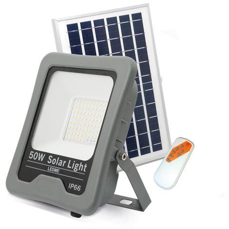 Foco Proyector LED Solar Profesional 50W IP66 Blanco Frío 6000K | IluminaShop