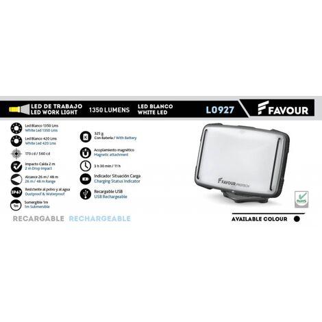 Foco recargable Favour, LED blanco, 1350 lumens, alcance de 26 a 48 metris, sumergible 1 metro