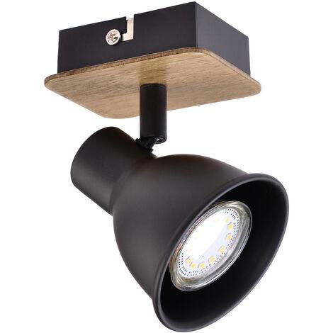 Foco serie Miko negro y madera GU10 (Jueric 10267)
