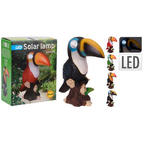 Foco solar 2 LED.s con forma de tucán 21cm