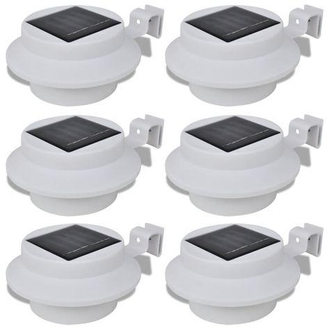 Foco solar blanco para vallas de jardín, 6 unidades