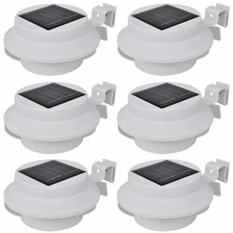 Foco solar blanco para vallas de jardin, 6 unidades