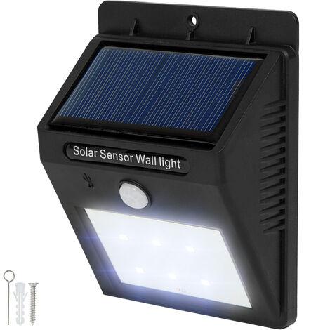 Foco solar LED con sensor de movimiento - lámparas con detector de movimiento, luces LED con detector de presencia, foco solar exterior para jardín - negro