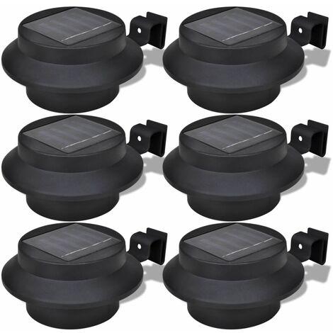Foco solar negro para vallas de jardin, 6 unidades
