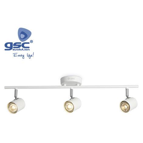Foco techo triple lineal GU10 Blanco