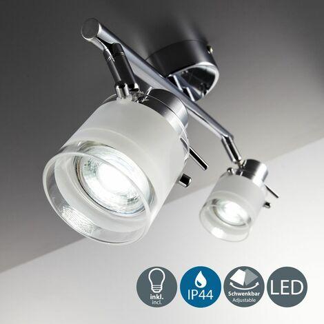 Focos de techo para baño LED IP44 incl. 2x5W bombillas GU10, Giratorio y orientable, luz blanca cálida 3000K, Metal en Cristal satinado , Color cromo, Anchura: 325 mm