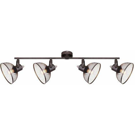 Focos de techo retro iluminación de sala de estar trenzado puntos móviles en un conjunto que incluye lámparas LED