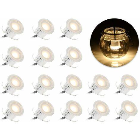 Focos LED empotrables LangRay, 16 focos LED para terraza, 0,6 W a prueba de agua IP67, lámpara LED para exteriores, para escaleras de paso, piscina (blanco cálido 3000 K)