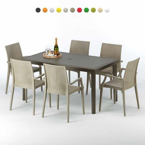 FOCUS Set Made of a 150x90cm Brown Rectangular Table and 6 Colourful Chairs