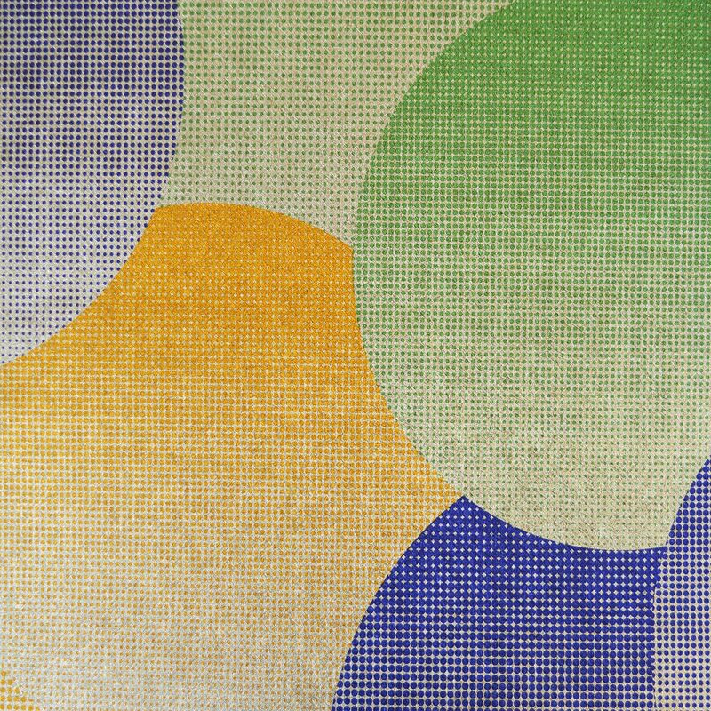 Image of Foil Effect Retro Circles Wallpaper Metallic Orange Gold Green Blue Textured