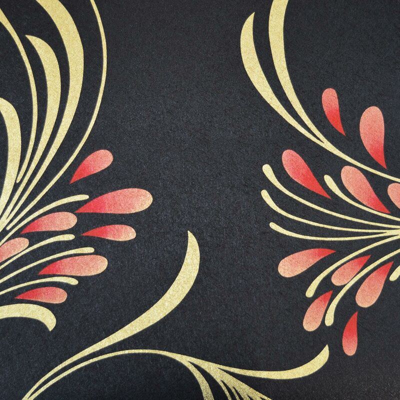 Image of Foil Effect Retro Floral Wallpaper Metallic Black Gold Red Textured