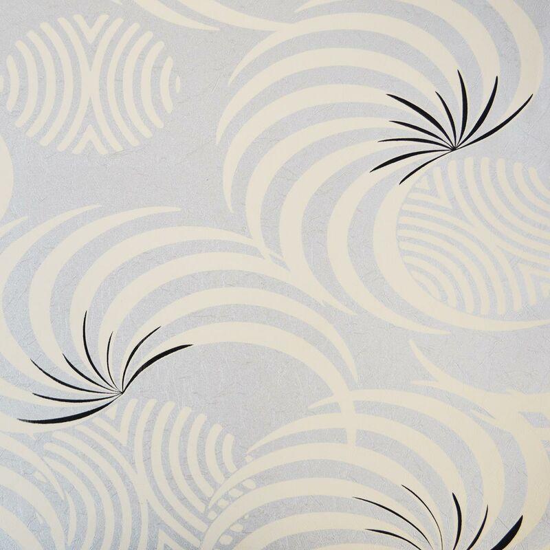 Image of Foil Effect Retro Swirls Wallpaper Metallic Silver Cream Black Textured