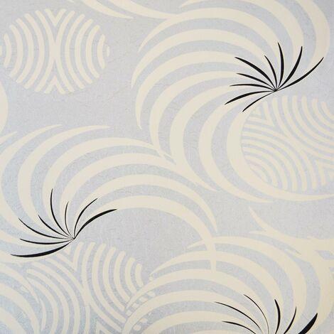 Foil Effect Retro Swirls Wallpaper Metallic Silver Cream Black Textured